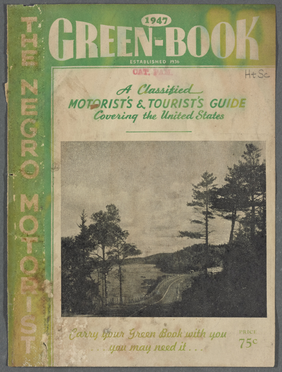 Image of the cover of the 1947 edition of the Green-Book. From the collection of the New York Public Library.
