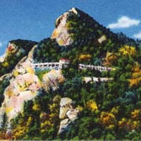 Postcard image of Grandfather Mountain. Click here to take the NCpedia North Carolina geography quiz.