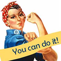 "NC Women's History Quiz. Modified picture of Rosie the Rivetteer says ""You can do it!"""