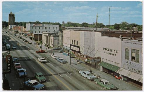 Postcard image of downtown business district on Queen Street in Kinston, N.C., ca. 1960s. From the Durwood Barbour Collection of NC Postcards, UNC-Chapel Hill.