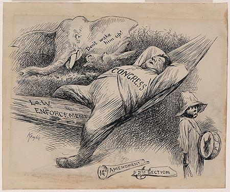 """Cartoon shows Congress as a fat man asleep in a hammock labeled """"Law Enforcement."""" A broken blunderbuss, labeled """"14th Amendment, 2nd Section,"""" lies at his feet. A small black boy walks by holding a drum, but an elephant cautions, """"Don't wake him up!"""""""