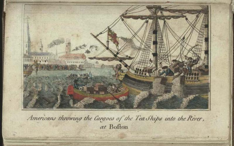 """Image of W.D. Cooper's 1789 engraving of the """"Americans throwing the Cargoes of the Tea Ships into the River, at Boston,"""" 1789.  Today we refer to the event as the """"Boston Tea Party."""""""