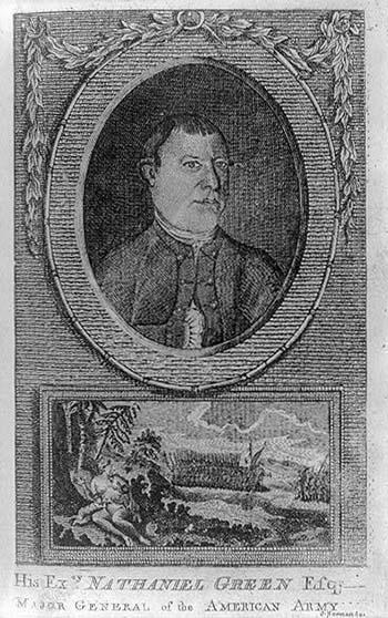 This is an image of a print showing Nathanael Greene, head-and-shoulders portrait, facing right, in oval medallion suspended above allegorical illustration of America nurturing two infants representing diverse racial groups; in the background is a military engagement between American and British forces. The image is available from the Library of Congress, The American Revolution in drawings and prints; a checklist of 1765-1790 graphics.