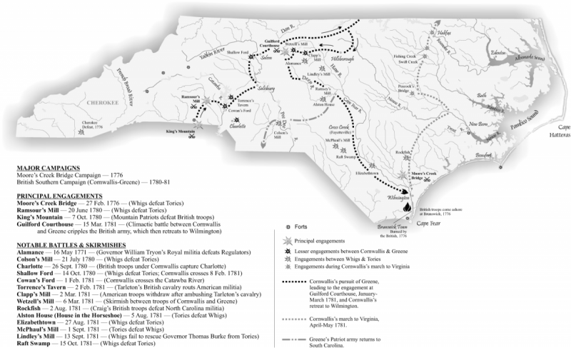 Map of N.C. in the Revolution showing major campaigns, engagements, battles & skirmishes. Created by Mark Anderson Moore, N.C. Office of Archives and History.