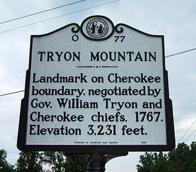 Image of the Tryon Mountain Historical Highway Marker located in Polk County, N.C.  Tryon Mountain was a landmark on the Cherokee boundary, negotiated by Gov. William Tryon and Cherokee chiefs in 1767.