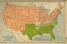 Map showing the United States during the Civil War, with color coding delineating between states that remained with the Union and those that seceded.