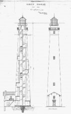 The attached house shown on this architectural plan for 1859 lighthouse was not built.