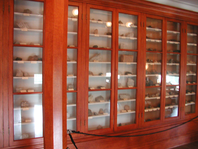 """Cabinet of Minerals,"" located in the State Geologist's office, is a replica of the original collection."