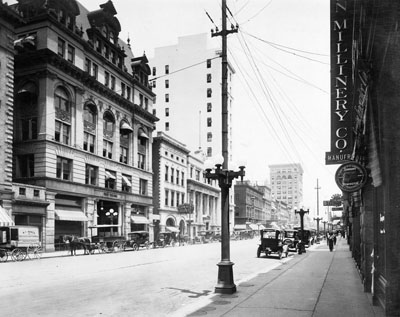 """Charlotte, NC, Trade Street, looking east, c.1923."" From Carolina Power and Light (CP&L) Photograph Collection (Ph.C.68), North Carolina State Archives; call #: PhC68_1_16_1."