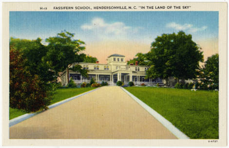 "Fassifern School, Hendersonville, N.C. ""In the Land of the Sky"". Image courtesy of North Carolina Postcard Collection, UNC Libraries."