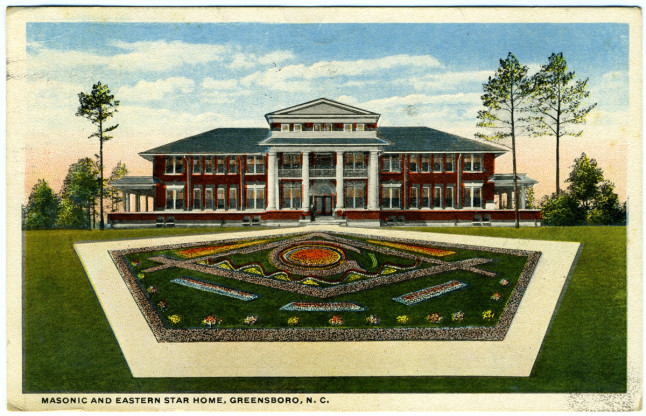 Postcard of the Masonic and Eastern Star Home, Greensboro, N.C., circa 1915.