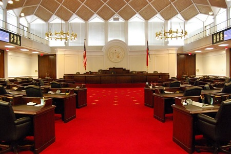 Senate chamber of the state legislative building, Raleigh.