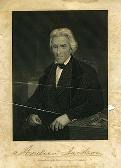 Print of an engraving of Andrew Jackson, made circa 1878-1890.  From the collections of the North Carolina Museum of History.