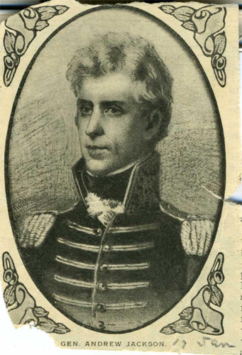 Clipping of a drawing of Andrew Jackson, circa 1900-1920.  From the collections of the North Carolina Museum of History.
