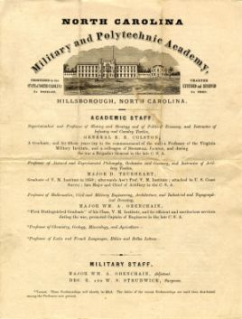 (click to see larger and for more information) Abbreviated catalog giving academic courses, costs, staff, and information about the North Carolina Military and Polytechnic Academy, circa 1867. This item is from the last year the school was in operation.