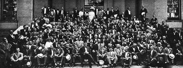 The National Negro Business League at their annual meeting, 1909. Dr. Booker T. Washington at front center. Image from the North Carolina Digital Collections.