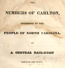 Title page of Numbers of Carlton, 1828. Image from Documenting the American South, UNC-CH.