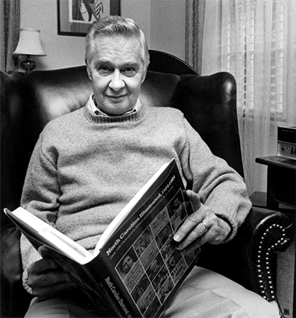 William S. Powell at home, circa 1984. Image from the North Carolina Collection, University of North Carolina at Chapel Hill.