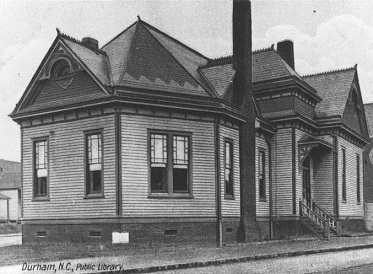 Postcard of Durham's first public library at Five Points, circa 1910.