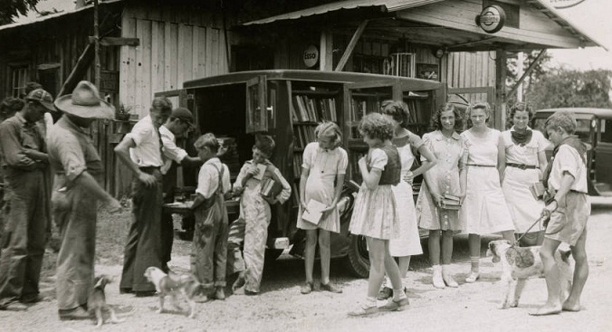 The Rockingham County Public Library bookmobile, date unknown.