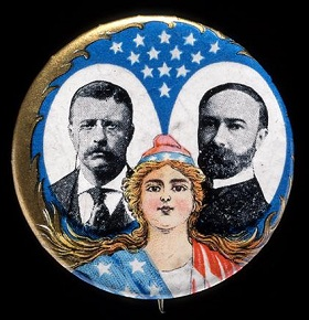 Button for the 1904 Roosevelt/Fairbanks Republican presidential campaign.