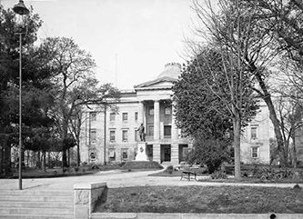 Photograph of the North Carolina State Capitol in Union Square, 1900-1920. Image from the Museum of History.