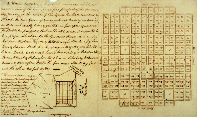 William Christmas's Plan of Raleigh, 1792. Image from the North Carolina Digital Collections.