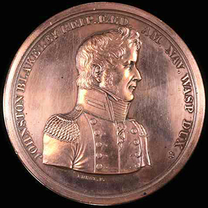 Medallion commemorating Capt. Johnston Blakeley, ordered struck by the N.C. General Assembly, 1814. Image from the North Carolina Museum of History.