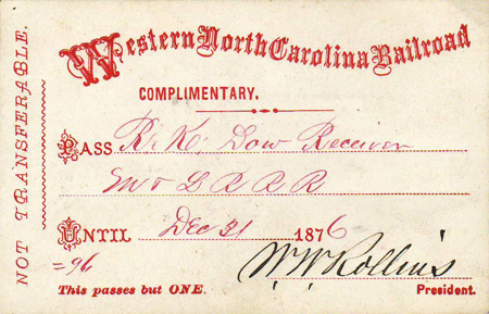 Boarding pass for the Western North Carolina Railroad, 1876. Image from North Carolina Historic Sites.