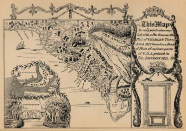 """Charles Town map of 1671. From 1680 to 1783 modern day 'Charleston' was known as 'Charles Town'. Available from Carolana."