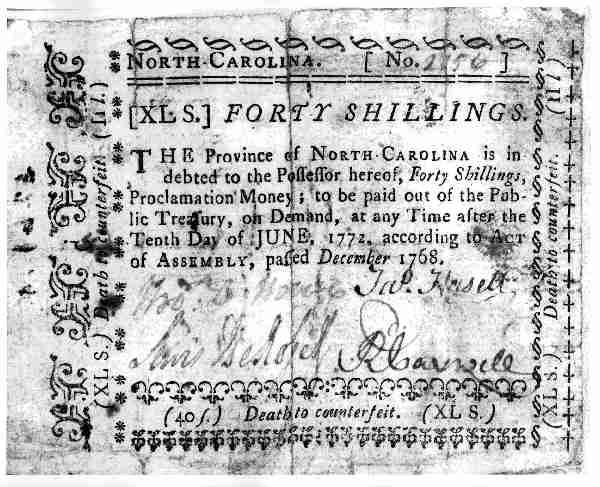 40 Shilling Bill on the Province of NC 1768-1771. Image courtesy of North Carolina Museum of History.