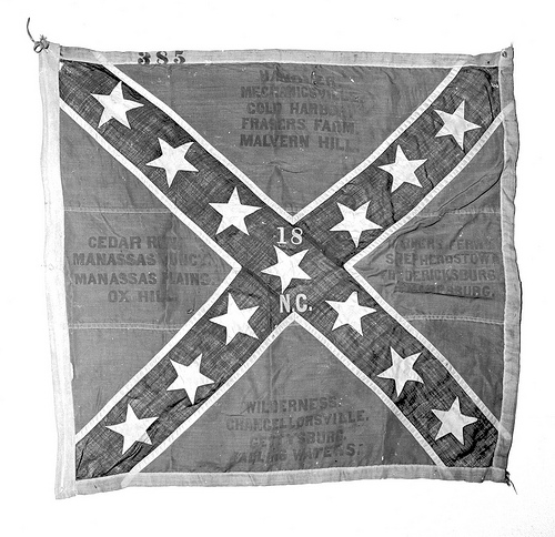 """Confederate Flag of 18th NC Mar 1 1953."" From the General Negative Collection, North Carolina State Archives, Raleigh, NC. Call #: NO_53_3_80."