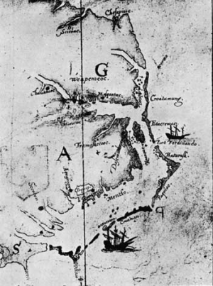 """Map made by John White, 1585-86, showing the relationship of Roanoke Island, Dasamonquepeuc, Port Ferdinando, Croatoan, and Hatoraske."" National Park Service. (Fort Raleigh National Historic Site)"