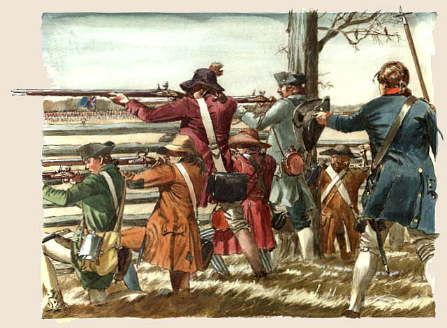 Illustration of American militia firing at the Battle of Guilford Courthouse
