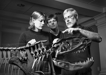 University of North Carolina at Chapel Hill geology professor Joseph Carter (right) and students examine the remains of an extinct reptile known as a rauisuchian. Carter and his students reassembled the 221 million-year-old skeleton in 1999. Photograph by Dan Sears. UNC-Chapel Hill News Services.