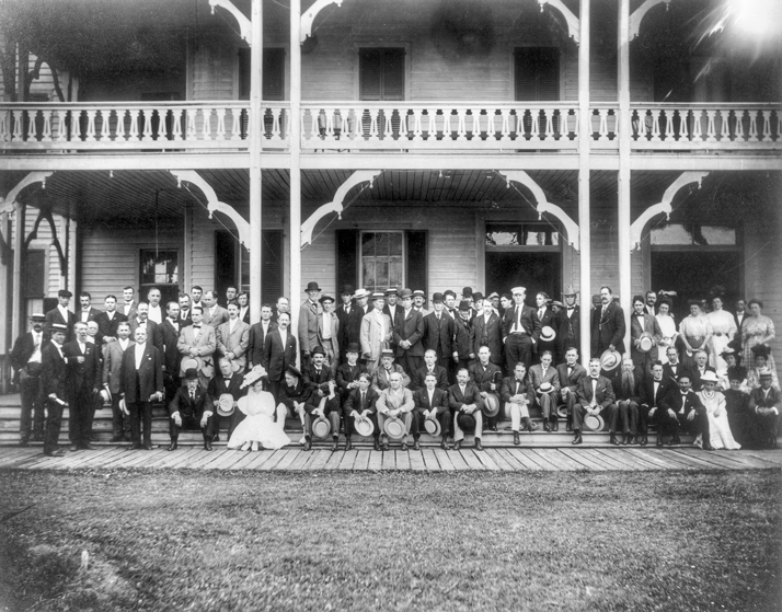 Members of the North Carolina Bankers Association at the Atlantic Hotel in Morehead City, June 1908. North Carolina Collection, University of North Carolina at Chapel Hill Library.