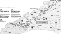 The Blue Ridge Parkway in North Carolina. Map by Mark Anderson Moore, courtesy North Carolina Office of Archives and History, Raleigh. (Click to view map.)
