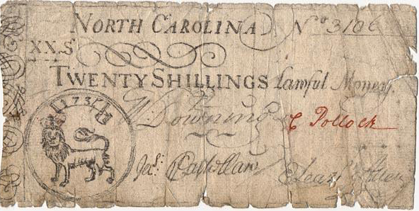 """Money, Paper, Accession #: H.1973.108.4."" 1735-1748. North Carolina Museum of History."