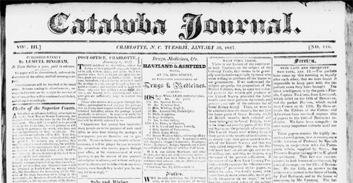 Catawba Journal was founded by Bingham in 1824. Image courtesy of DigitalNC.