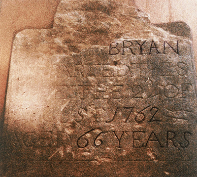 The tombstone of Martha Strode Bryan, wife of Morgan Bryan. Image courtesy of the Davie County Public Library.