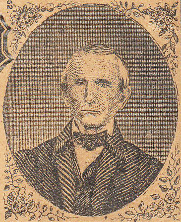 A engraving of Daniel William Courts that appeared on the State of North Carolina Five Dollar Bill issued in 1863. Image from the North Carolina Historic Sites.
