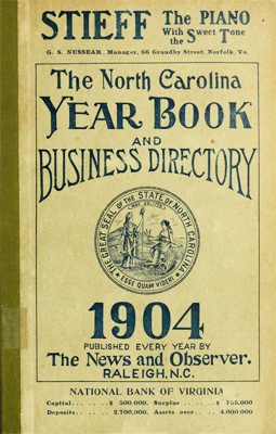 Image of the cover of <i>The North Carolina Year Book and Business Directory,</i> published 1904 by <i>The News and Observer.</i>  From Archive.org.
