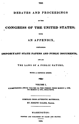 The title page of Joseph Gales's Annals of Congress, 1834. Image from Archive.org.