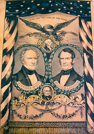 Presidential campaign poster for the Whig Party, 1852, with portraits of Winfield Scott and William Alexander Graham. Image from the North Carolina Museum of History.