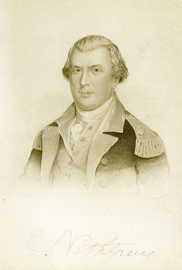 Photograph of an engraving of General Nathaniel Greene, made circa 1910-1930.  Item H.19XX.331.94 from the collections of the North Carolina Museum of History.  Used courtesy of the North Carolina Department of Cultural Resources.