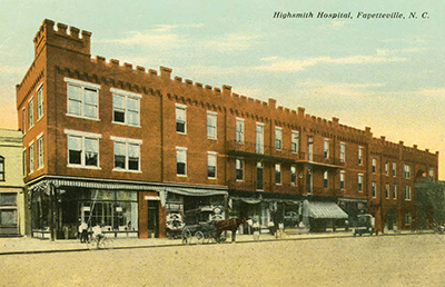 A postcard, circa 1905-1915,  of Highsmith Hospital in Fayetteville, N.C. Image from the North Carolina Collection, University of North Carolina at Chapel Hill.