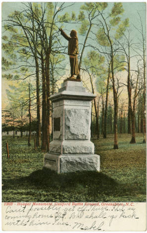 Hooper Monument, Guilford Battle Ground, Greensboro, N.C.  	North Carolina Collection Photographic Archives, Wilson Library, University of North Carolina at Chapel Hill