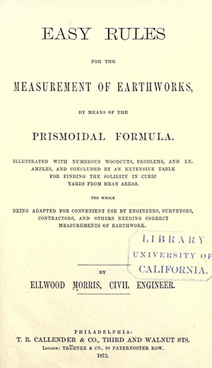 The title page of an engineering book by Ellwood Morris published in the year of his death, 1872. Image from the Internet Archive.
