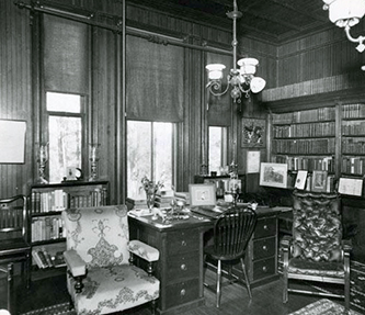 A 1953 photograph of the library of Richmond Hill in Asheville. Image from the North Carolina Museum of History.