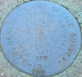 A 2012 photograph of the survey marker for the Qualla Boundary. Image from Flickr user Jimmy Emerson.